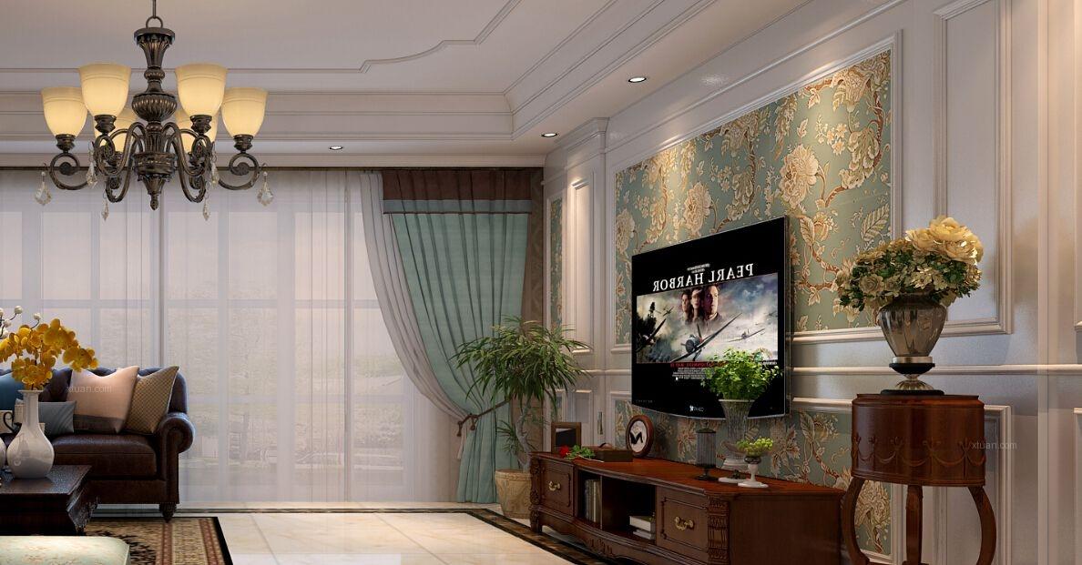 大户型美式风格客厅电视背景墙