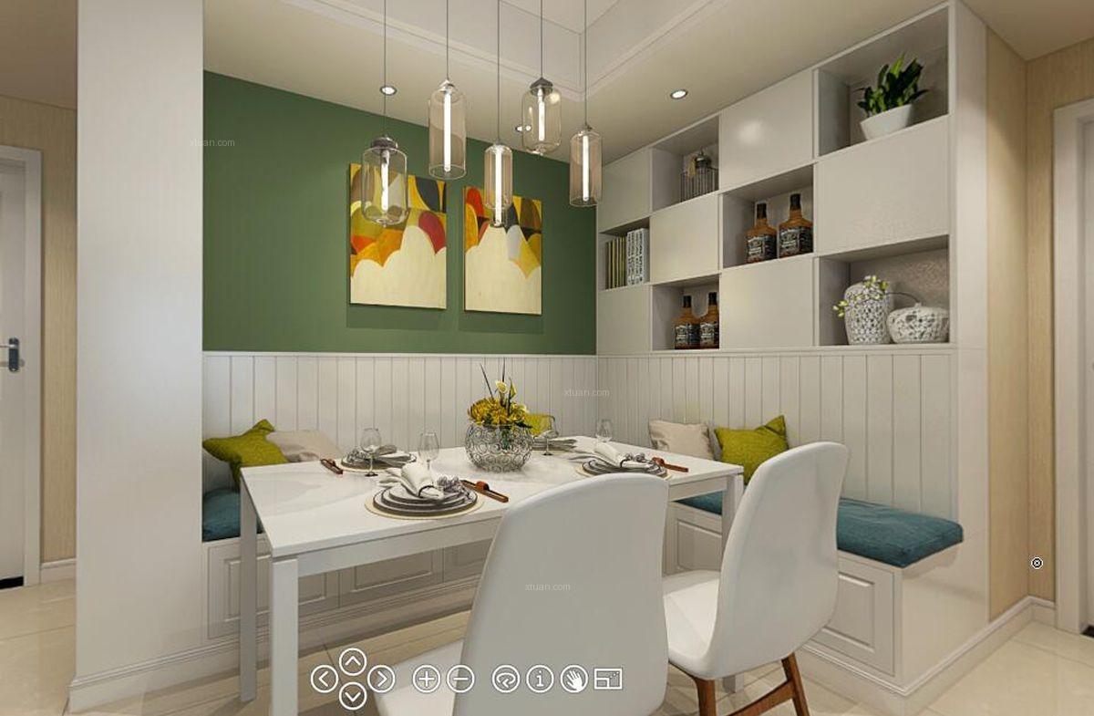 四居室简欧风格餐厅开放式厨房图片