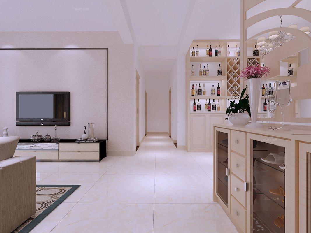 四居室现代简约客厅电视背景墙
