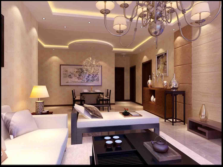 三居室现代简约客厅圆形吊顶图片