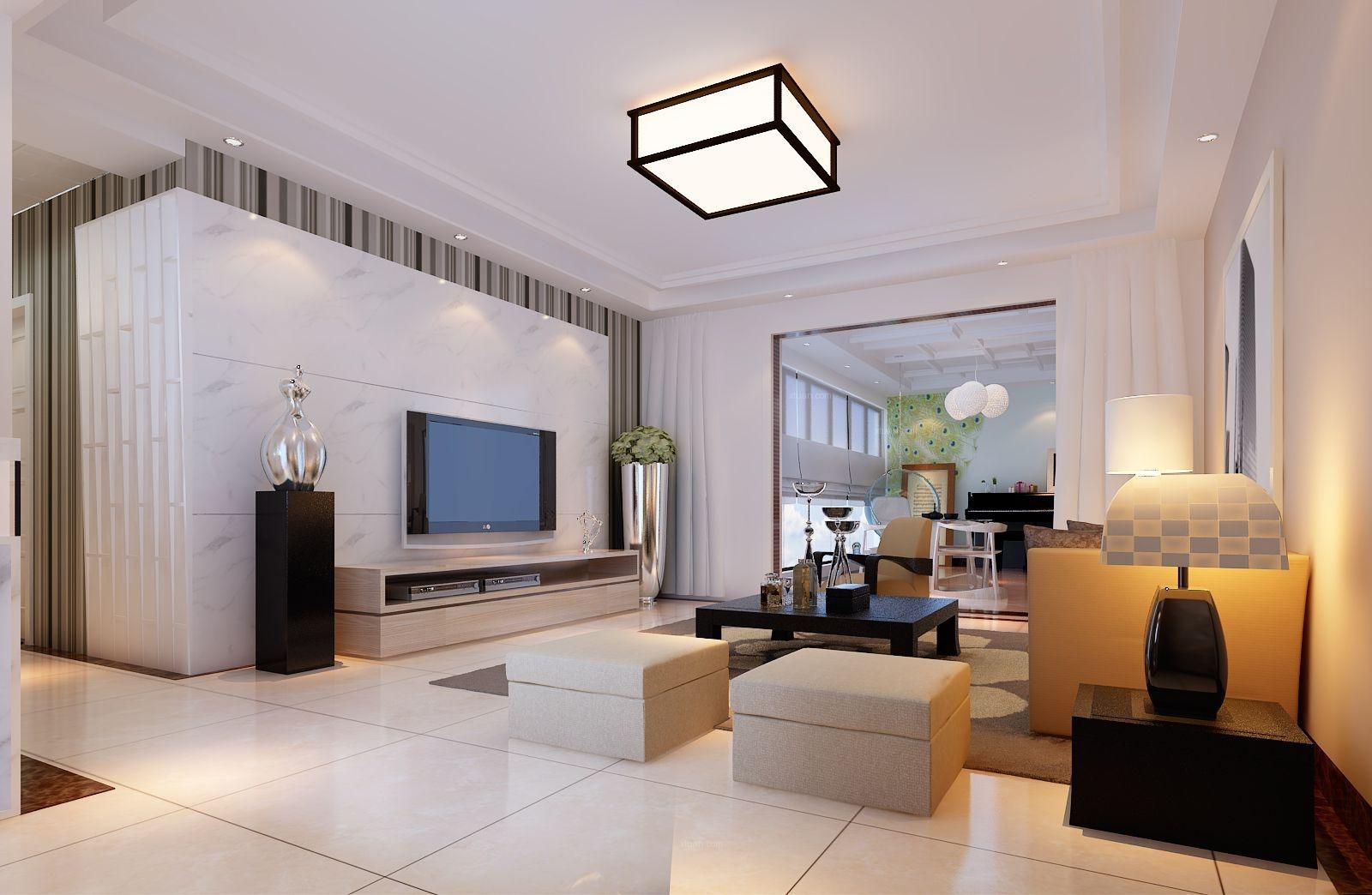 四居室简约风格客厅电视背景墙图片