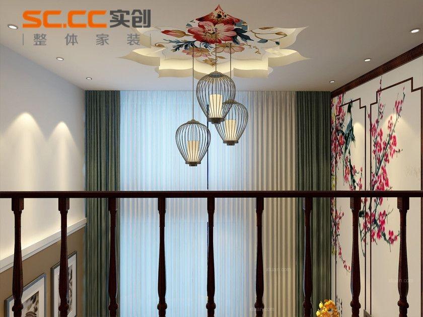 两居室中式风格客厅圆形吊顶
