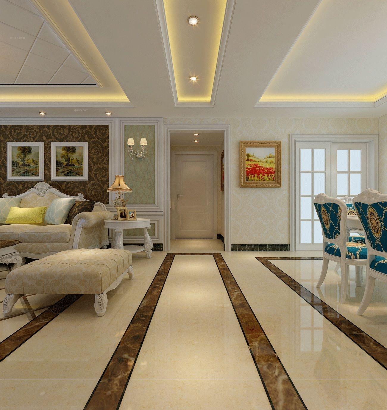 【润德天悦城】137平米三室两厅简欧风格-全包-安全健康装修效果图图片