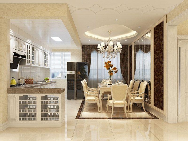 三居室简欧风格餐厅开放式厨房图片