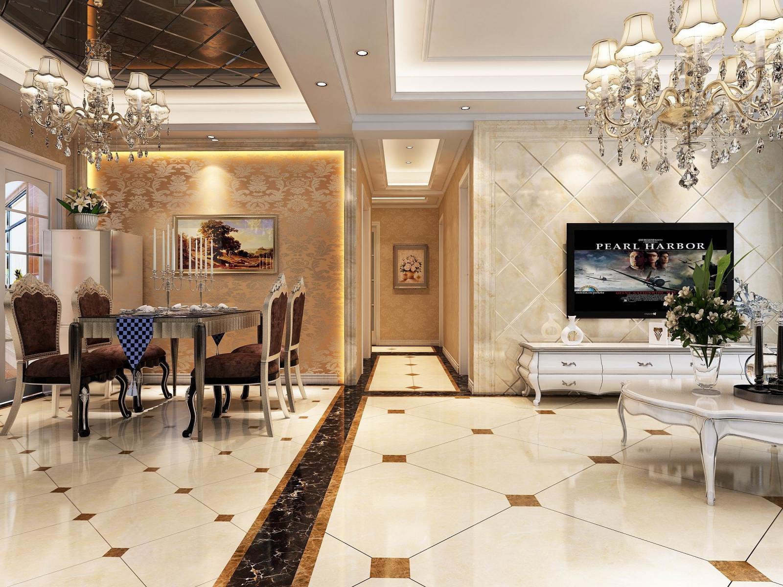四居室欧式风格餐厅影视墙图片