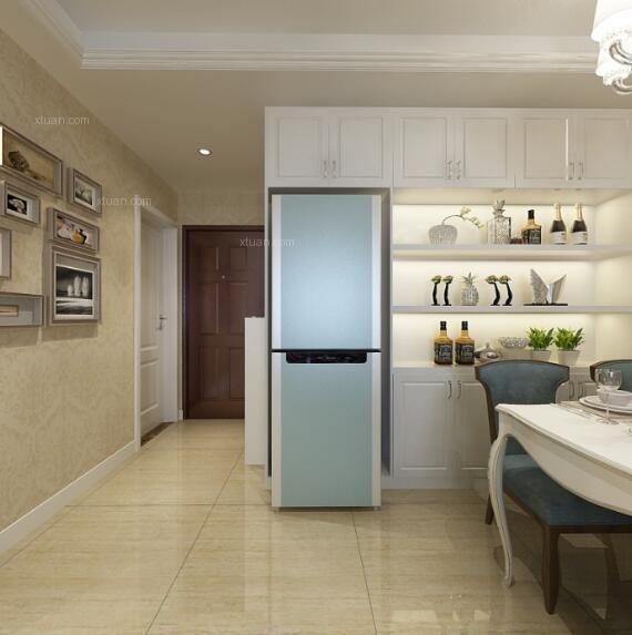 三室两厅新古典餐厅开放式厨房图片