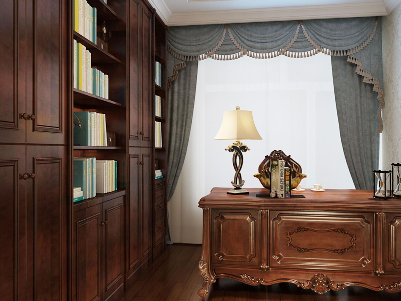 三居室欧式风格书房卧室背景墙图片
