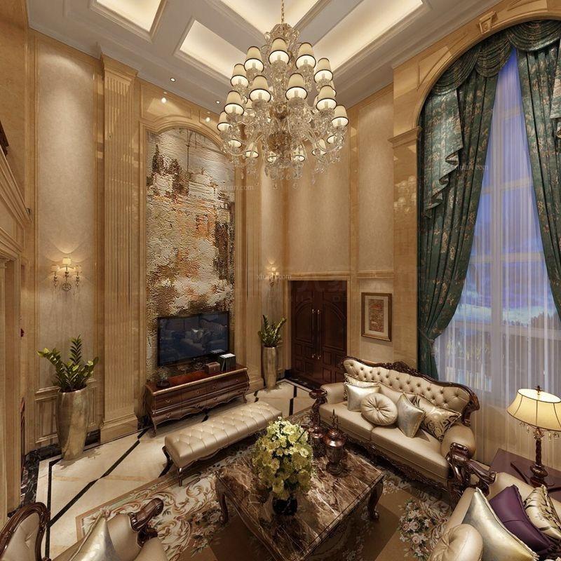 獨棟別墅歐式風格客廳電視背景墻