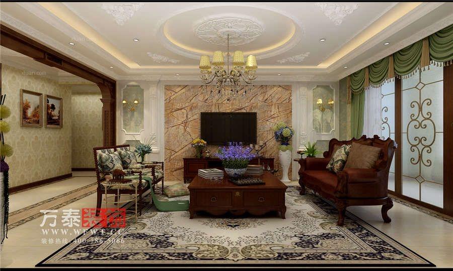 潍坊大有公馆193平三居室装修新古典艺术底蕴案例