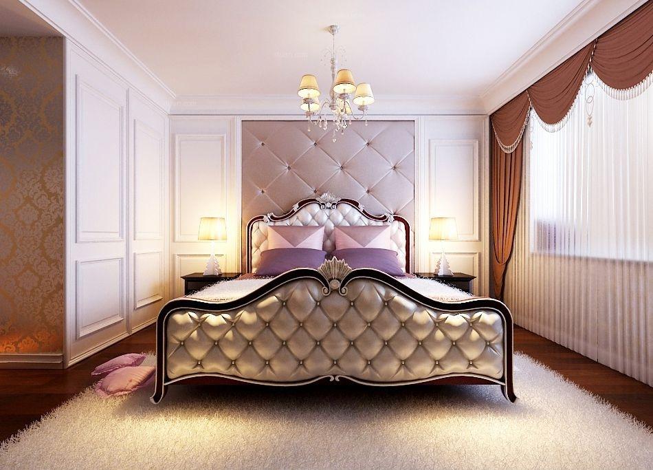 三居室欧式风格卧室卧室背景墙图片
