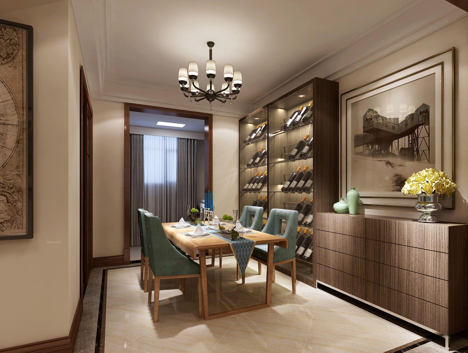 地面使用三层拨打线,深胡桃木色的酒柜和门厅柜搭配实木垭口套线,用