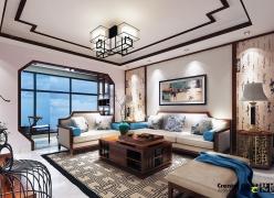 柳州三房两厅装修效果图-工颐华城115㎡中式装修效果