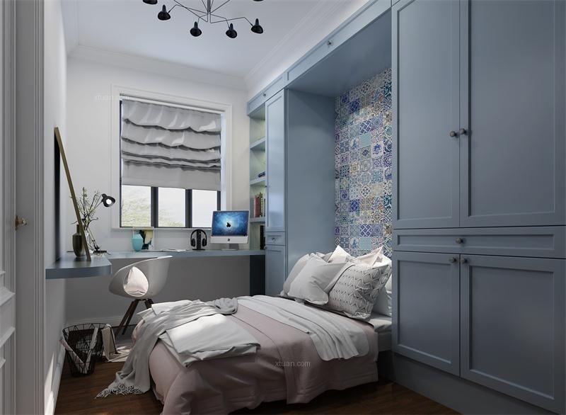 三居室北欧风格卧室隐形门