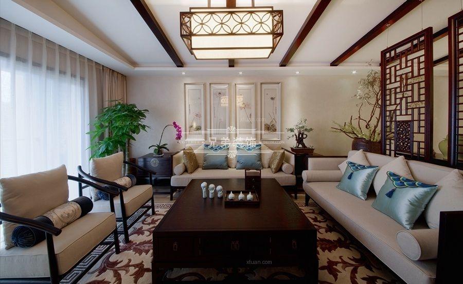 大户型英式风格客厅沙发背景墙