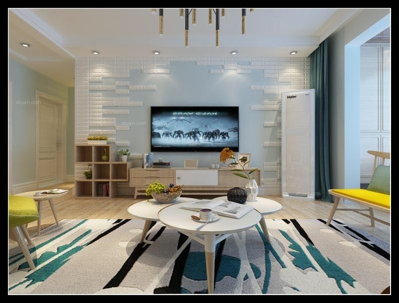 三室一廳北歐風格客廳電視背景墻