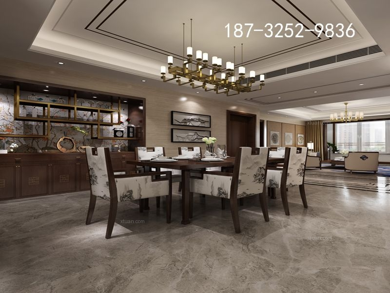 金岸红堡140平三居室新中式风格装修效果图