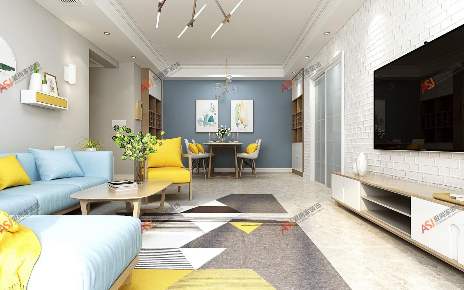 三居室北欧风格客厅沙发背景墙