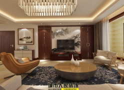 呼和浩特城市人家家装公司集通中朵城140平米的中式风格及预算