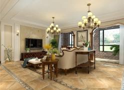 呼和浩特绿地香树花城三居室大户型的美式装修设计效果图