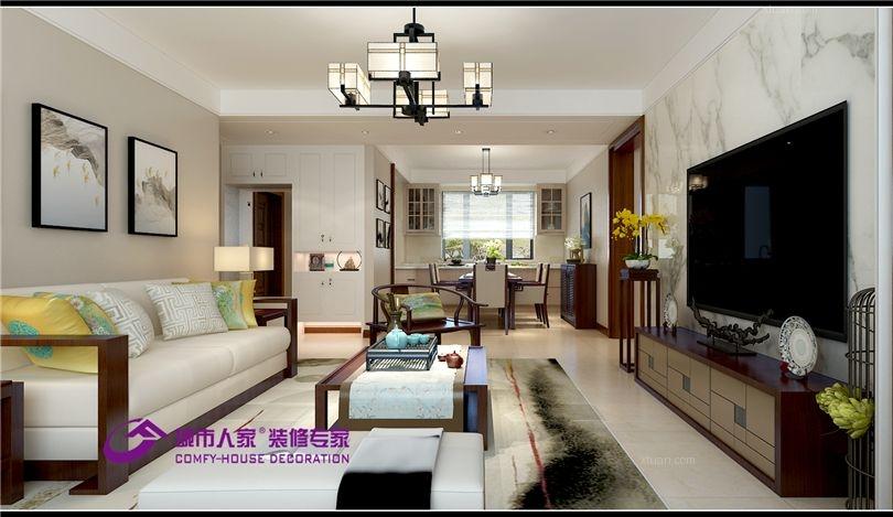 财富壹号135平三室两厅新中式风格装修