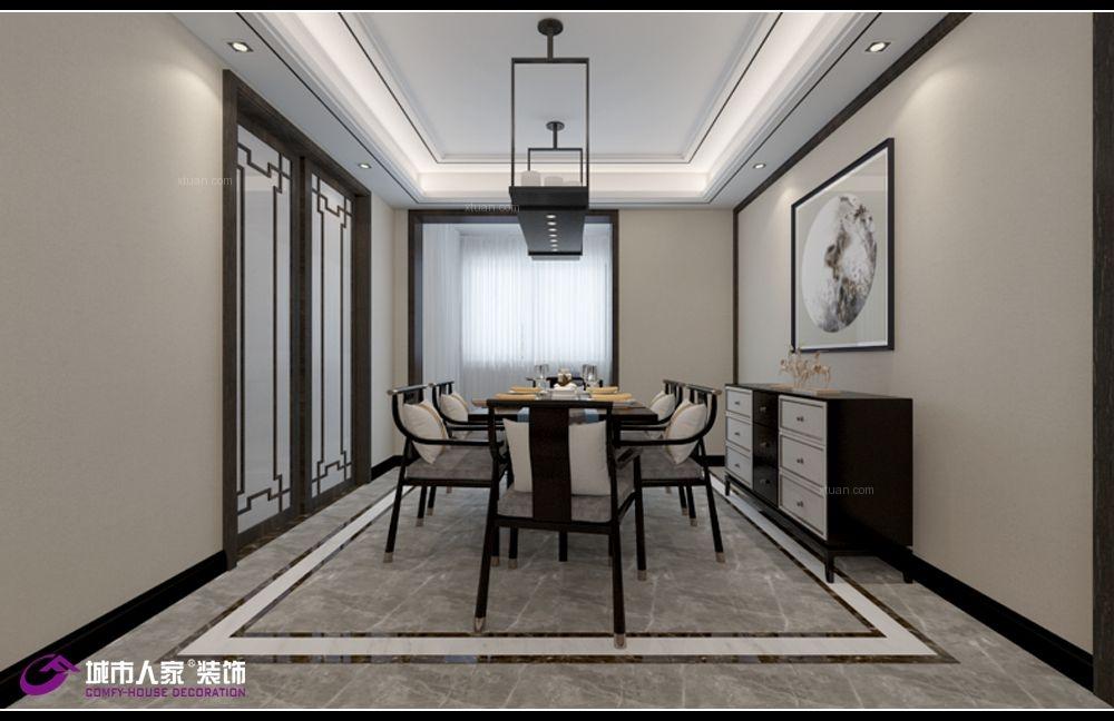 济南万达文旅城160平装修新中式风格