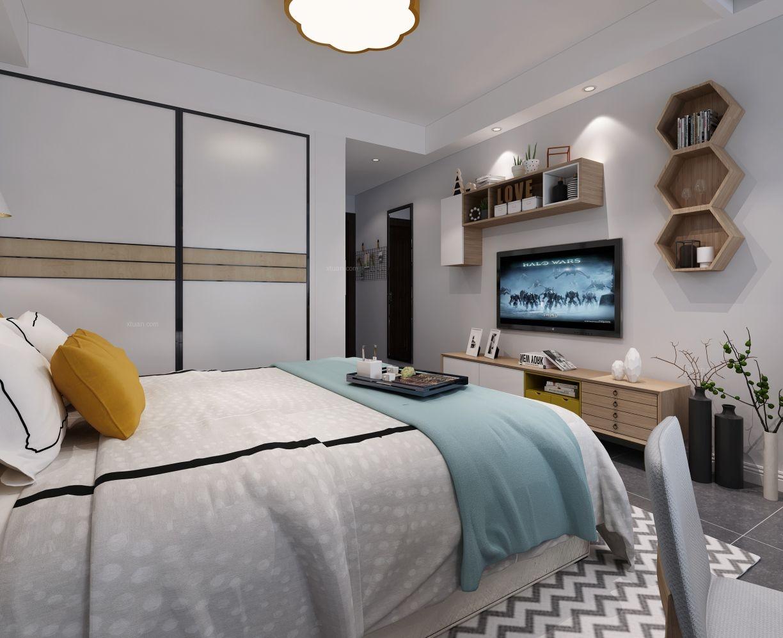 单身公寓北欧风格卧室电视背景墙