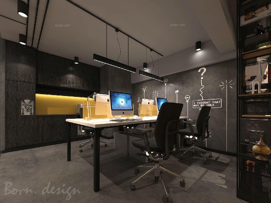 合肥工业风暗色调办公室装修设计搭配赏析