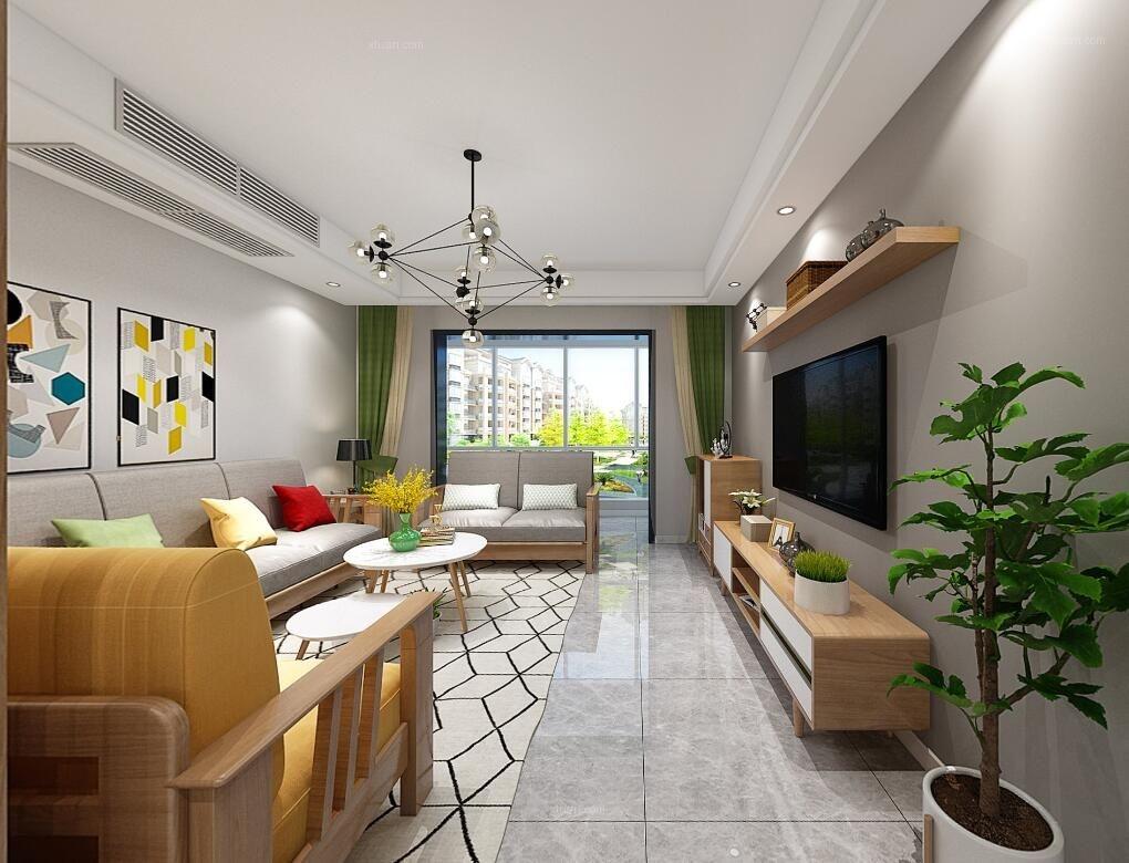 三居室北欧风格客厅电视背景墙