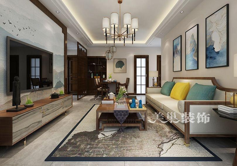 美巢郑州绿都澜湾106平三室两厅户型设计新中式风格装修效果图
