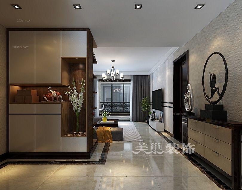 美巢郑州东润玺城现代黑白灰风格设计109平三室两厅装修效果图