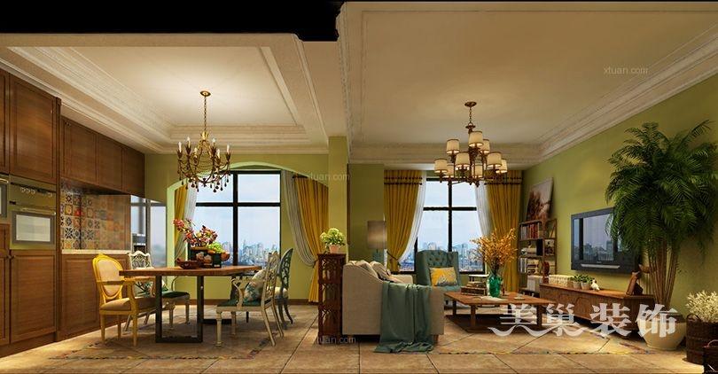 美巢郑州正商红河谷139平洋房三室美式乡村风格装修效果图
