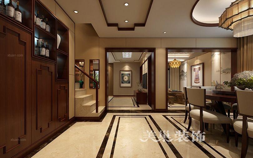 美巢中森林语美墅264平别墅设计新中式风格装修效果图