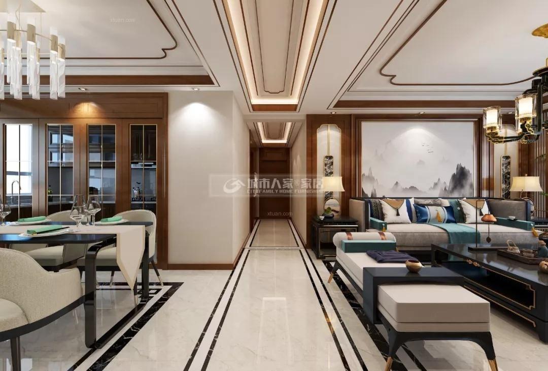 「城市人家装修案例」中城国际城115平米现代中式风格