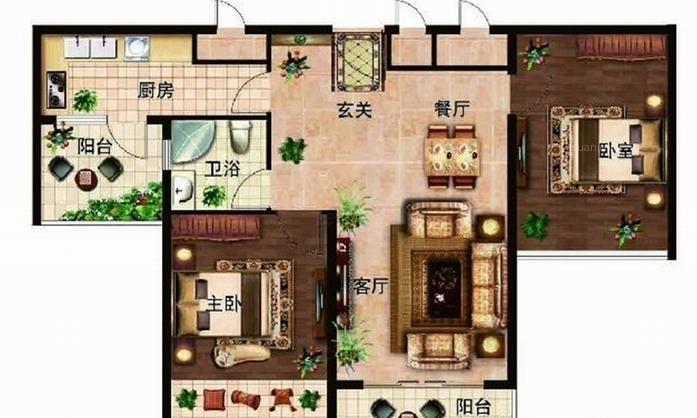 镇江西海岸户型图b1户型 2室2厅 面积:80.00m2