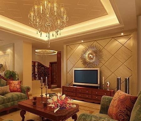 欧式风格的电视背景墙装修效果图可以让您感受西欧家居装修文化的图片