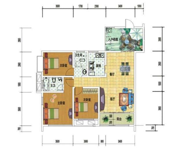 号三室一厅61万元_设计图分享