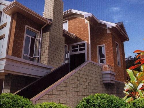 外墙瓷砖的表面都不平整,有着凹凸不平的纹理,既为别墅增添了高清图片