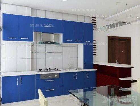 厨房颜色搭配-蓝色橱柜效果图