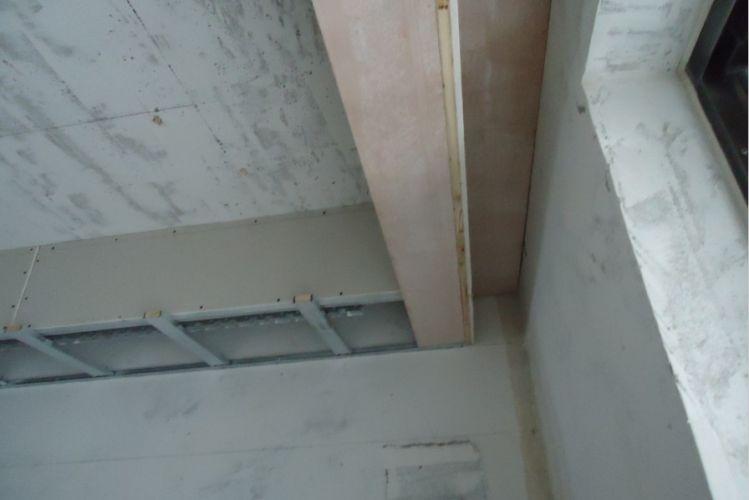 吊顶窗帘盒部分整块木工板处理