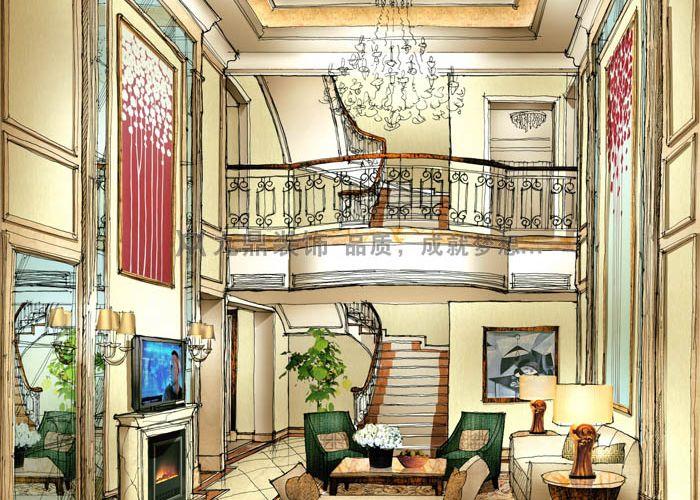 皇府御园别墅装修,餐厅前期手绘图!