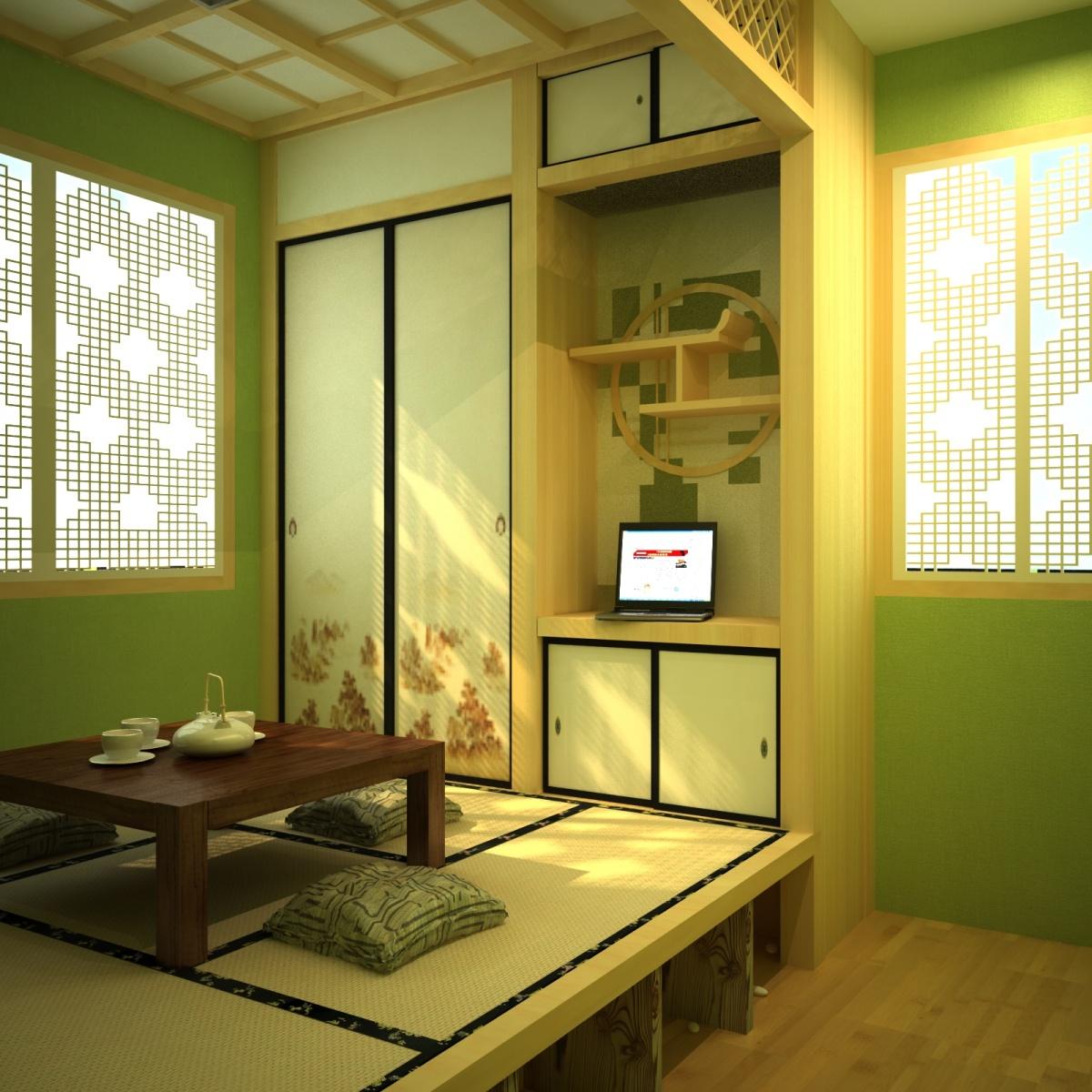 家装榻榻米效果图 茶室