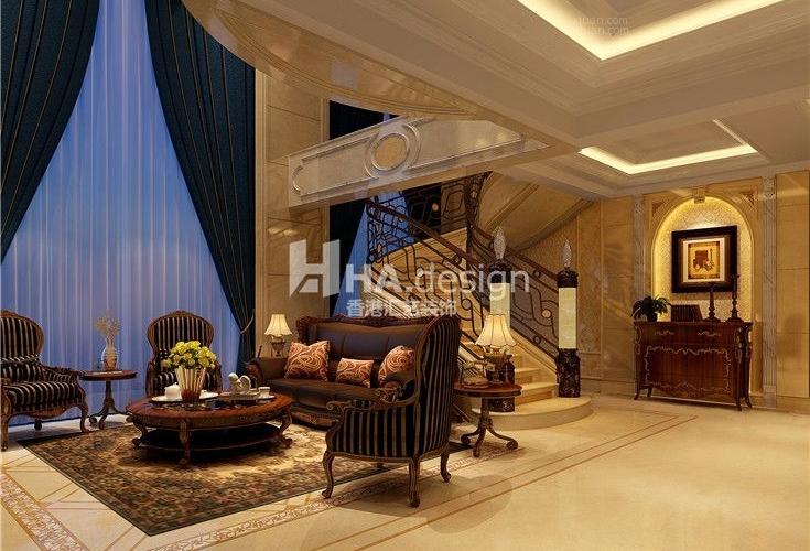 武汉天地复式别墅|简欧风格装修效果图图片