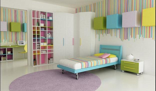 可爱洋气的儿童房卧室背景墙装修效果图