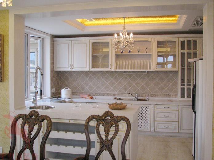 114平美式风格敞开式厨房设计_装修效果图-x团装修网