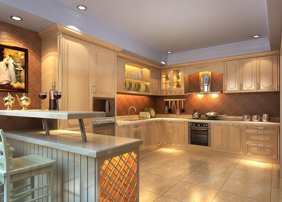 135平中式风格敞开式厨房装修效果图