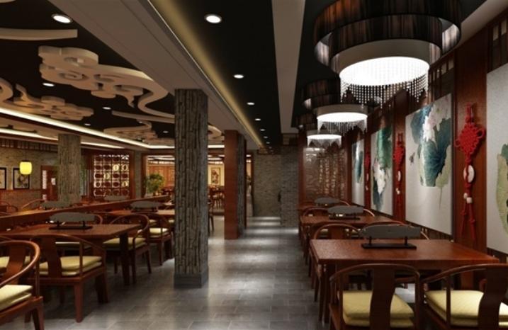 中式古典餐馆设计装修效果图