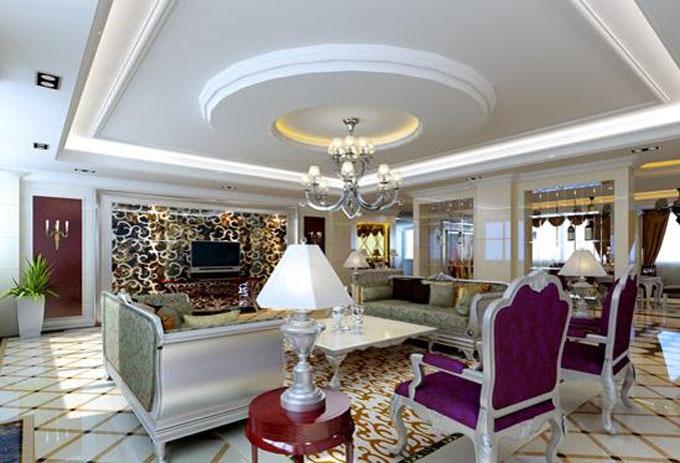 圆形的客厅吊顶造型是欧式风格和英式风格的家居装修中常见的设计方案
