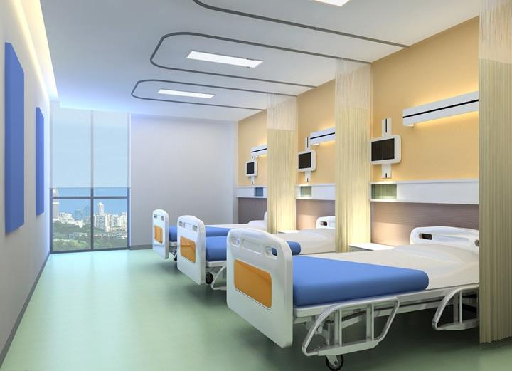 设计理念:医院是医患治疗病痛和康复的重要地方,因此,医院的装修设计首要原则就是宽敞舒适。一个医院建筑群主要的组成有门诊大楼、病房楼等,门诊大厅要足够大和宽敞,并要保证充分的采光,楼层高度要合适,这样才不会过于压抑。其次,病房楼的设计重点在于病房的设计,病房的设计主要就是要考虑到病人居住的舒适度。