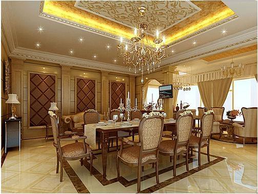 豪华美式家庭餐厅装修_装修效果图-x团装修网图片