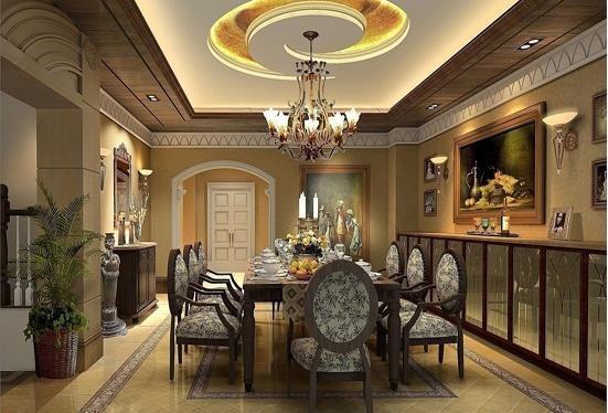 设计理念:效果图1:采用华丽的吊顶强调它的大气奢华,浓烈的色彩极力表现着居室生活的温馨与豪华。格子地毯所展现出来的清晰线条,刚劲有力,高贵的气质也见长。一字形的吧台设计增加生活的浪漫与休闲。效果图2:大圆形的餐桌体现了和谐的家居生活氛围,简单的线条赋予了一份简欧的气质。荷叶边的窗幔呈现出高雅的格调,自然的光线缔造出温馨的画面,落地窗营造出一种随意感。效果图3:月亮的吊顶造型迎,自然柔美的线条,缔造出更多柔情的生活画面。豪华的造型布局和新古典的餐边柜完美的融合在一起,银灰色与暖黄色的色彩搭配,明快与阳光结合